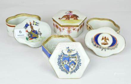A Group of Chinese Export Ware Lidded Boxes