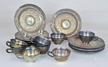 A Set of 8 Chinese Silver Cups and Saucers