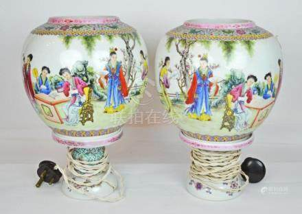 A Pair Republic Period Porcelain Lamps