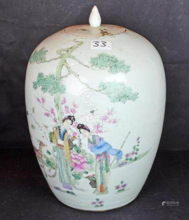 A Republican Period Porcelain Lidded Jar