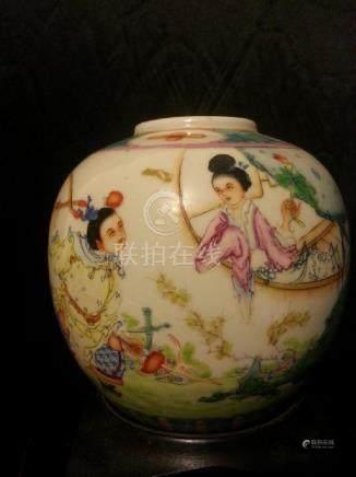 Antique Chinese Famille Rose Porcelain Bow JAR