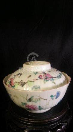Antique Chinese Famille Rose Porcelain Tea Bow