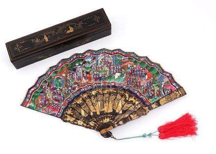 ORIENTAL FAN WITH LITTLE FIGURES