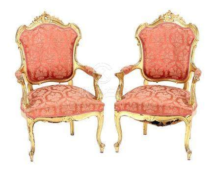 PAIR OF FAUTEUILS, LOUIS XV STYLE