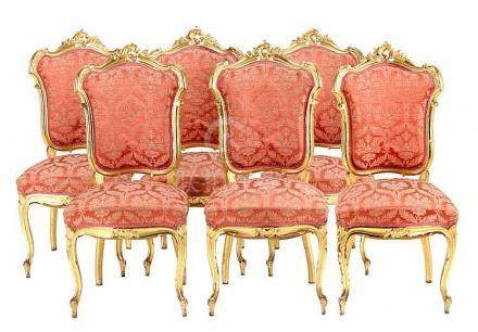 SET OF 6 CHAIRS, LOUIS XV STYLE
