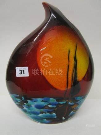 'Coming Home' - an Anita Harris Studio pottery, large teardrop vase, 12\ high, printed backstamp