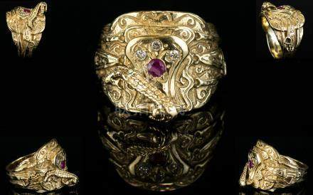 Gents - Impressive and Heavy Handmade Diamond and Ruby Set 9ct Gold Ring. Set with 3 Diamonds and