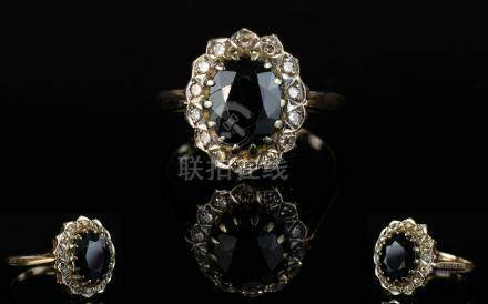 Ladies 9ct Yellow Gold Set Sapphire and Diamond Cluster Ring. Flower head Setting, The Faceted