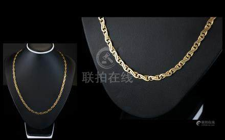 Contemporary 9ct Gold Necklace - In The Serpentine Design. Fully Hallmarked for 9ct Gold Well Made
