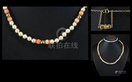 Ladies Coral and Pearl ( Cultured ) Necklace / Collar. Set with 9ct Gold Spacers and Clasp. Fully