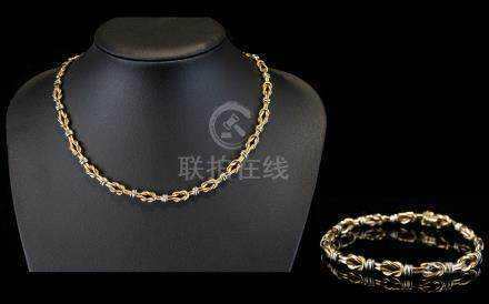 Ladies Contemporary Designed Two Tone / Fancy 9ct Gold Necklace with Matching Bracelet. Both