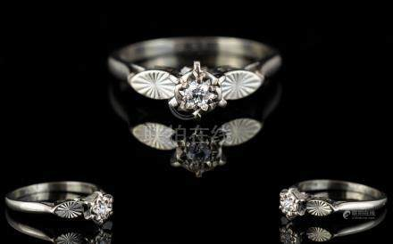 18ct White Gold Single Stone Diamond Ring. Illusion Set, Small Diamond of Excellent Colour and