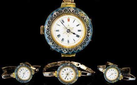 Ladies - Impressive 1930's 15ct Two Tone Gold Wrist Watch, with Diamond Set and Enamel Bezel, Both