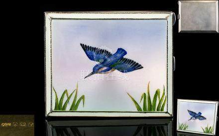 Superb Quality Guilloche Enamel on Silver Cigarette Case, Gilt Interior. The Cover Depicting a