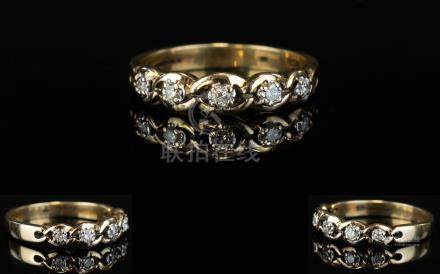 Ladies - 9ct Gold 5 Stone Diamond Set Dress Ring. Fully Hallmarked. Ring Size N-O. As New Condition.