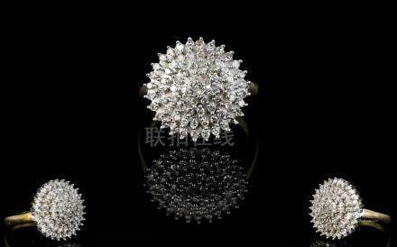 Ladies 9ct Gold Diamond Cluster Ring. Flower head Design. Diamond Weight - 0.50 pts. Marked to