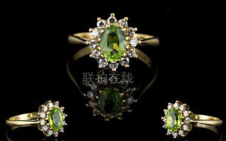 18ct Gold Peridot and Diamond Set Cluster Ring, Flower head Setting. Fully Hallmarked. The Central