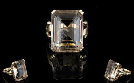 9ct Gold - Large Smoky Topaz Set Dress Ring. The Large Faceted Smoky Topaz of Good Colour. Fully