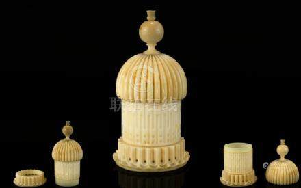 A Mid Victorian Nice Quality Carved Ivory Needlework Accessory ( Needle and Pin Holder ) In the form