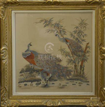 CHINE - XXe siècle Deux broderies à motif de paons formant pendant H. 52 cm L. 50 cm ( à vue) Encadrées