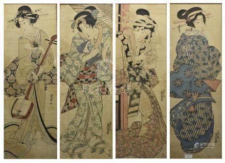 Keisai EISEN (1790 -1848) et Utagawa TOYOKUNI III (1786 -1865) Quatre double oban tate-e