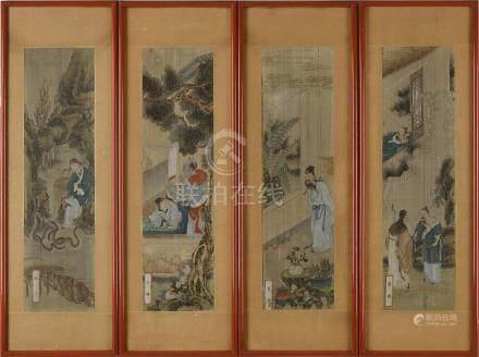 CHINE - XIXe siècle Quatre encres et couleurs sur soie