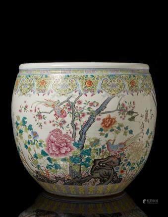 中國 二十世紀 粉彩花鳥紋缸