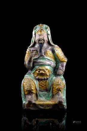 清 康熙 三彩陶瓷真武大帝坐像