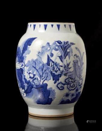 中國 二十世紀 青花人物圖瓶