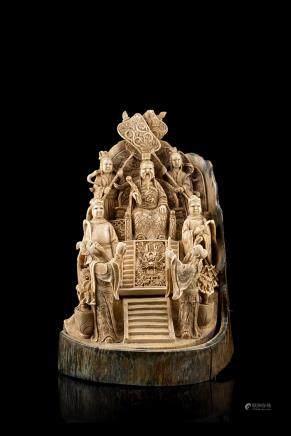 中國 二十世紀初 象牙雕皇帝及官員羣像