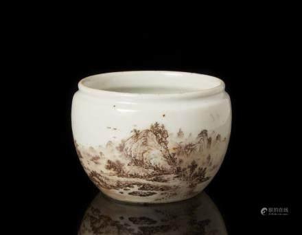 中國 二十世紀 褐地山水圖小罐