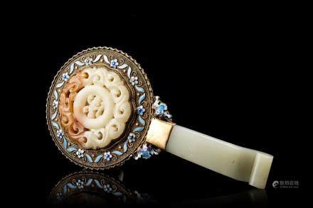 中國 二十世紀初 青玉手柄鏡子