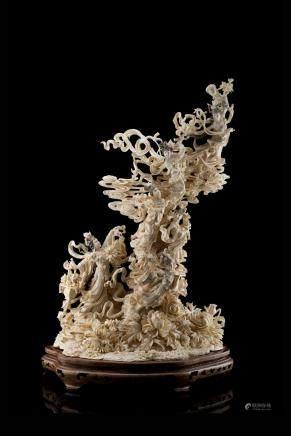 中國 二十世紀初 象牙雕仙女羣像