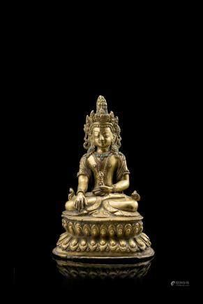 西藏 十九世紀 鎏金銅佛坐像
