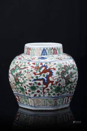 中國 二十世紀 萬曆仿款 五彩龍紋小罐