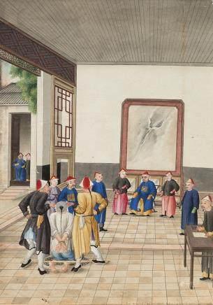中國 十九世紀 酷刑畫 設色紙本 三件