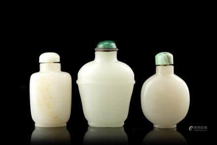 中國 二十世紀 青玉雕鼻菸壺 三件
