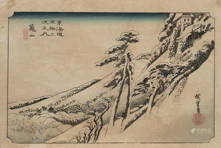 日本 明治時期 風景版畫 九件