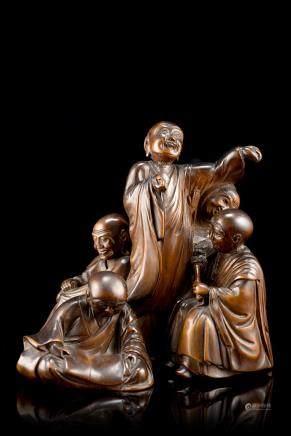 中國 十九世紀 黃楊木雕僧人羣像
