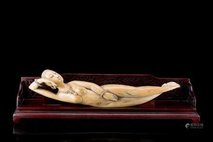中國 二十世紀初 象牙雕裸女