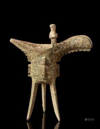 中國 二十世紀 銅雕三足爵