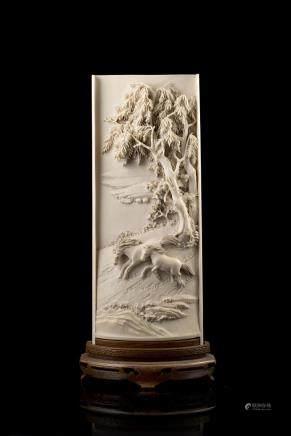 中國 二十世紀初 象牙雕山水圖桌屏