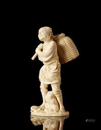 日本 二十世紀初 象牙漁夫雕像