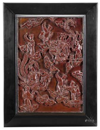 中國 十九世紀 紅漆雕人物圖木板
