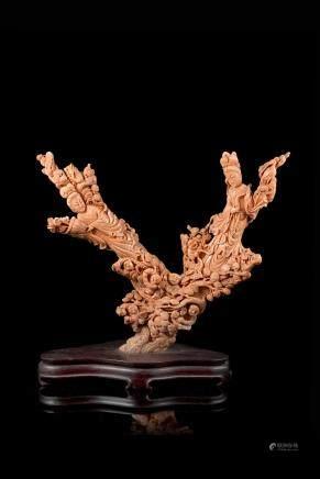 中國 二十世紀初 珊瑚雕仕女及童子羣像