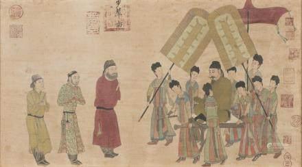 中國 十九世紀 太宗皇帝出巡畫 設色紙本