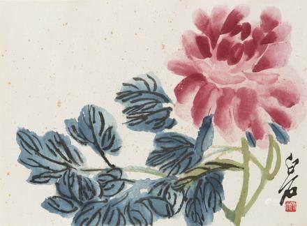 中國 二十世紀 花卉畫 三件