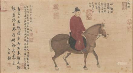 中國 十九世紀 官員乘馬畫 設色紙本