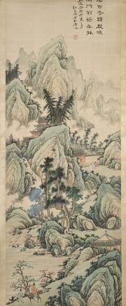 中國 二十世紀初 山水畫 落款 設色絹本 一對