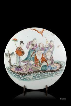 中國 十九世紀 彩繪八仙過海瓷板畫